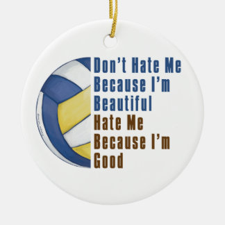 Im Beautiful Im Good Volleyball Double-Sided Ceramic Round Christmas Ornament