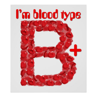 I'm blood type B positive Poster