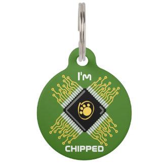 I'm chipped pet id tag