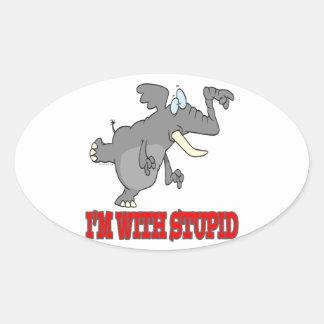 im con el elefante punteagudo divertido estúpido calcomanía de ovaladas