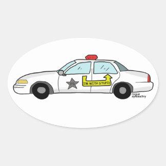 Im con el logotipo estúpido en el coche patrulla calcomanía óval personalizadas