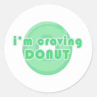 I'm craving donut (green) classic round sticker
