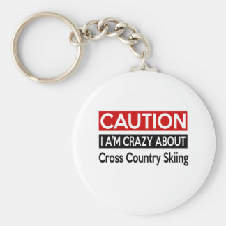 I'M CRAZY ABOUT CROSS COUNTRY SKIING BASIC ROUND BUTTON KEYCHAIN