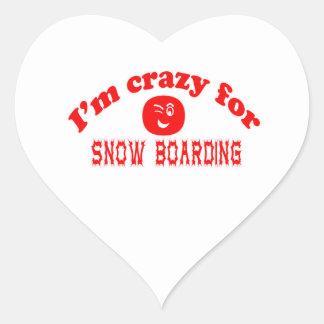 I'm crazy for Snow Boarding. Heart Sticker