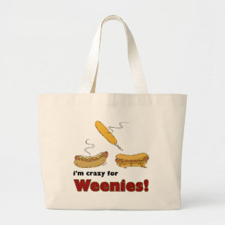 I'm Crazy For Weenies! Corn Chili Hot Dog Tote Bags
