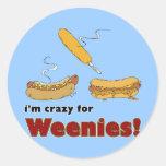 I'm Crazy For Weenies! Corn Chili Hot Dog Classic Round Sticker