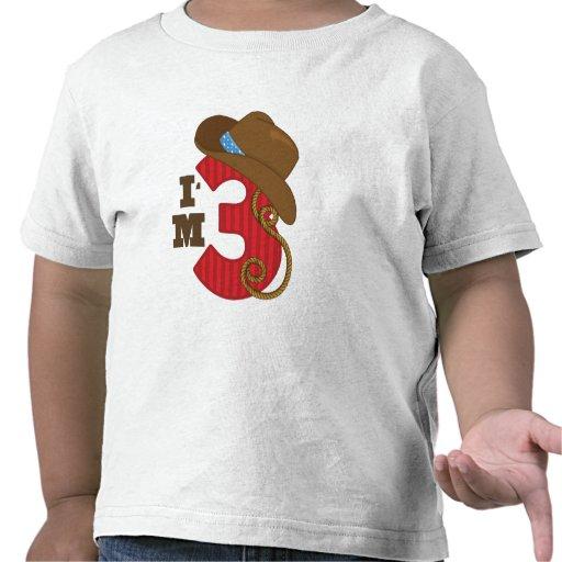 Im cumpleaños de tres vaqueros camiseta
