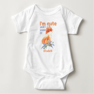 I'm Cute and I know It - Baby Fox Baby Bodysuit