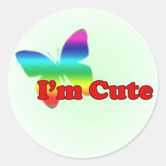 I'm cute... classic round sticker