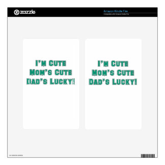IM CUTE MOMS CUTE DADS LUCKY blue sport png Skins For Kindle Fire