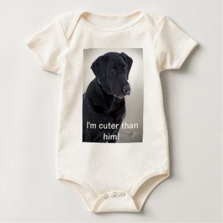 I'm cuter than him! - Black lab Apparel Bodysuit