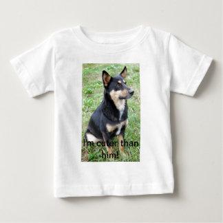 I'm cuter than him! - German Shepherd Apparel Baby T-Shirt