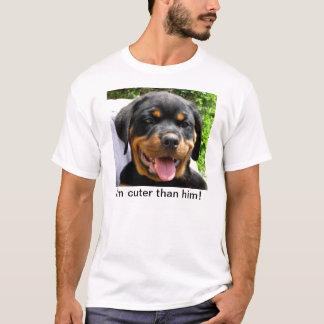 I'm cuter than him! - Rottweiler puppy Apparel T-Shirt