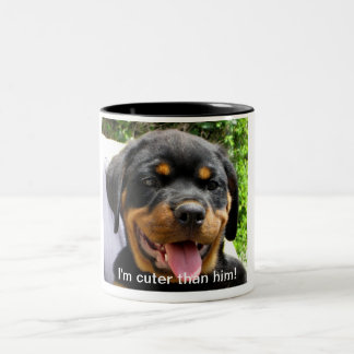 I'm cuter than him! - Rottweiler puppy Mug