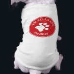 """I&#39;m Deaf Medical Awareness With Custom Name Shirt<br><div class=""""desc"""">Spread the awareness of your pet&#39;s condition with the help of this dog T-shirt featuring a red circle with a big white paw print silhouette in the middle. There is a customizable text area that now reads &quot;I&#39;m deaf&quot; together with another customizable text field where you can personalize your pet&#39;s...</div>"""
