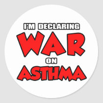 I'm Declaring War on Asthma Classic Round Sticker