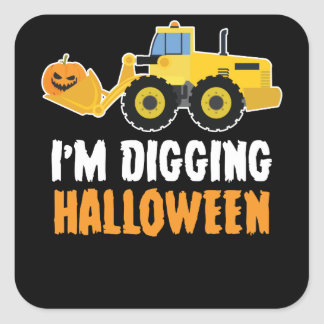 I'm Digging Halloween Pumpkin Face Tractor T Shirt Square Sticker
