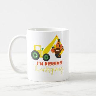 I'm Digging Thanksgiving Turkey Tractor Cute Kids Coffee Mug