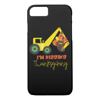 I'm Digging Thanksgiving Turkey Tractor Cute Kids iPhone 8/7 Case