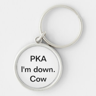 I'm down. Cow Silver-Colored Round Keychain