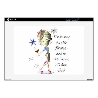 """I'm dreaming of a white Christmas, Funny Wine Gift 15"""" Laptop Skin"""