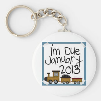 I'm Due January 2013 Blue Train, due date Basic Round Button Keychain