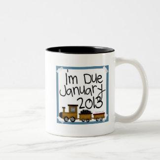 I'm Due January 2013 Blue Train, due date Two-Tone Coffee Mug