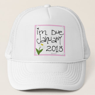 I'm Due January 2013 Pink Daisy, due date Trucker Hat