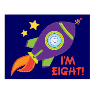 I'm Eight Rocketship Birthday Gift Postcard