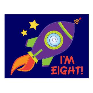 I'm Eight Rocketship Birthday Gift Post Card