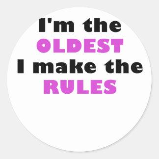 Im el más viejo hago las reglas pegatina redonda