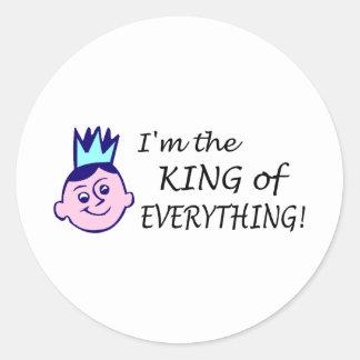 Im el rey Of Everything Pegatina Redonda