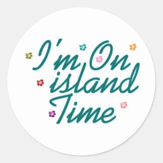 Im el tiempo de la isla pegatina redonda