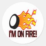 Im en el fuego etiqueta redonda