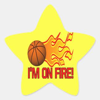 Im en el fuego pegatina en forma de estrella