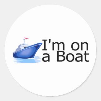 Im en un barco etiqueta redonda