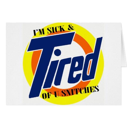 Im enfermo y cansado de espías de U -- Camiseta Tarjetas