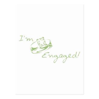 I'm  Engaged (Green Diamond Ring) Postcard
