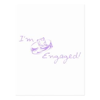 I'm Engaged (Purple Diamond Ring) Postcard