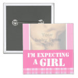 I'm expecting a girl ultra 3D scan pink badge 2 Inch Square Button