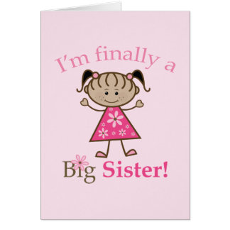 I'm Finally a Big Sister Ethnic Stick Figure Girl Greeting Card