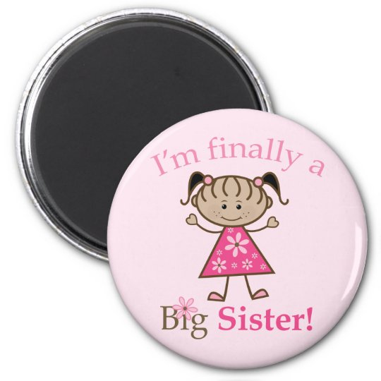 I'm Finally a Big Sister Ethnic Stick Figure Girl Magnet