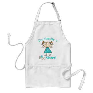 I'm Finally a Big Sister Stick Figure Girl Adult Apron