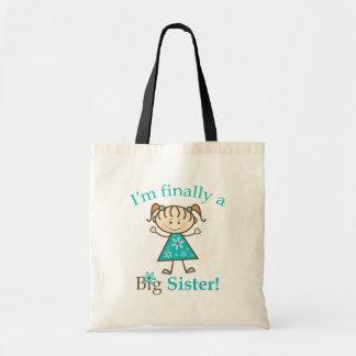 I'm Finally a Big Sister Stick Figure Girl Bags