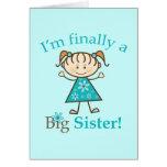 I'm Finally a Big Sister Stick Figure Girl Greeting Card