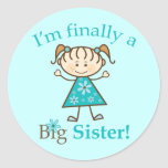 I'm Finally a Big Sister Stick Figure Girl Classic Round Sticker