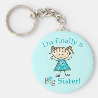 I'm Finally a Big Sister Stick Figure Girl Keychain