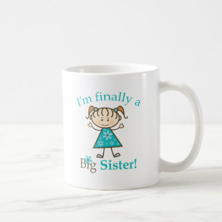 I'm Finally a Big Sister Stick Figure Girl Coffee Mugs