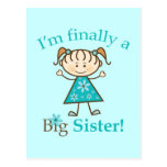 I'm Finally a Big Sister Stick Figure Girl Postcard