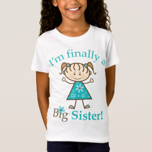 I'm Finally a Big Sister Stick Figure Girl T-Shirt